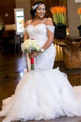 Glamorous Cap-Sleeve Appliques Plus-Size Lace Mermaid Wedding Dress_2