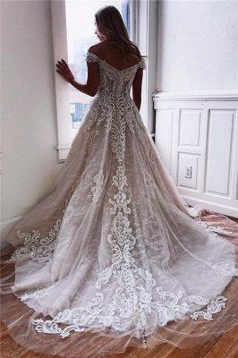 Dazzling Off-The-Shoulder Lace Appliques A-Line Wedding Dresses_2