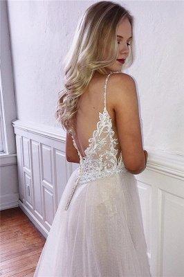 Elegant A-line V-neck Spaghetti Straps Wedding Dresses with Lace_2
