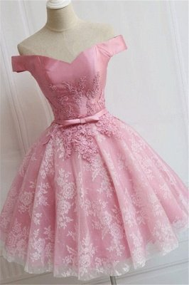 Elegant Pink Off-the-Shoulder Appliques Bowknot A-line Homecoming Dress_4