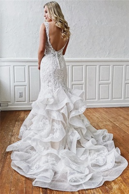 Glamorous Straps Ruffled Lace Mermaid Wedding Dresses_2