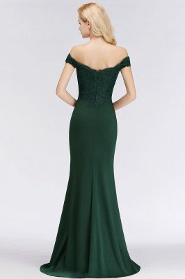 Green Elegant Lace Mermaid Off-The-Shoulder Bridesmaid Dresses_11