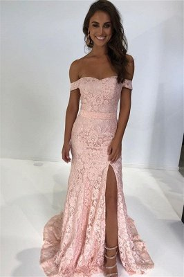 Pink Off-The-Shoulder Mermaid Prom Dresses with Side Slit_1