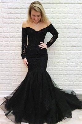 Elegant Off Shoulder Long sleeves Black Prom Dress | Black Sexy Mermaid Evening Dresses_1