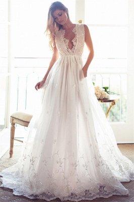 Sleeveless V-Neck Appliques Lace Glamorous A-Line Princess Wedding Dress_2