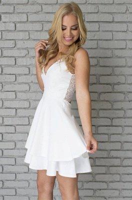 White Homecoming Dresses Spaghettis Straps Layers Skirt A-line Short Prom Dresses_6