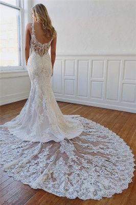 Alluring Straps Lace Appliques Crystal Mermaid Wedding Dresses_3