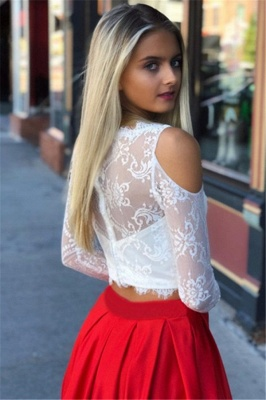 Two Piece Long Sleeves White and Red Prom Dresses with Lace_2