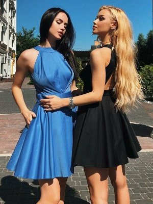 Sexy Halter Open Back Homecoming Dress_5