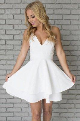 White Homecoming Dresses Spaghettis Straps Layers Skirt A-line Short Prom Dresses_4