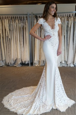 Court-Train Glamorous Mermaid Cap-Sleeves V-Neck Lace-Applique Wedding Dresses_2