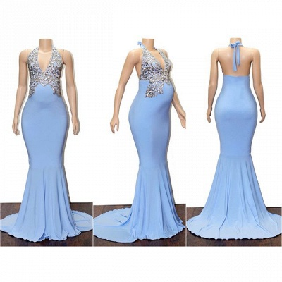 Blue Halter Sleeveless Pregnant Mermaid Prom Dresses with Appliques_2