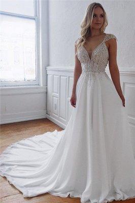 Elegant Straps Beading Appliques A-Line Wedding Dresses