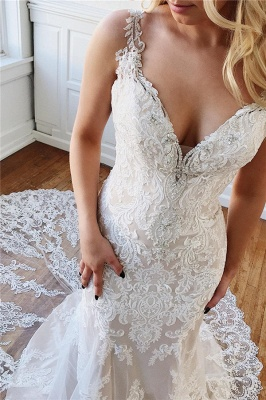 Alluring Straps Lace Appliques Crystal Mermaid Wedding Dresses