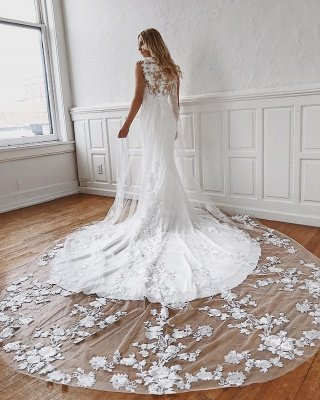 Glamorous Lace Appliques Mermaid Wedding Dresses_2