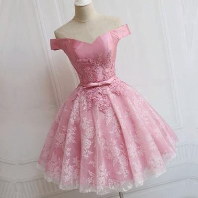 Elegant Pink Off-the-Shoulder Appliques Bowknot A-line Homecoming Dress_3