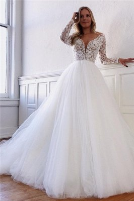 Elegant Lace Appliques Long-Sleeves Tulle A-Line Wedding Dresses