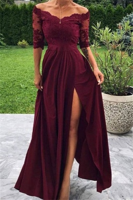 A-line Burgundy Off-The-Shoulder Prom Dresses with Lace Appliques and Side-Slit_1