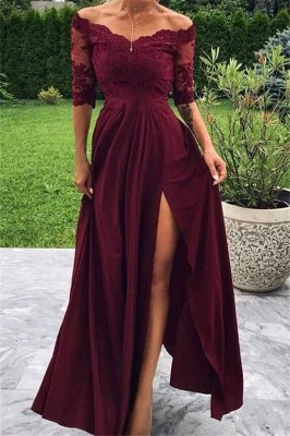 A-line Burgundy Off-The-Shoulder Prom Dresses with Lace Appliques and Side-Slit