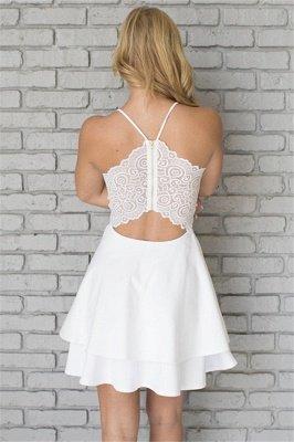 White Homecoming Dresses Spaghettis Straps Layers Skirt A-line Short Prom Dresses_5
