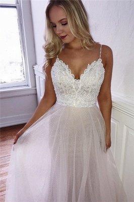 Elegant A-line V-neck Spaghetti Straps Wedding Dresses with Lace_1
