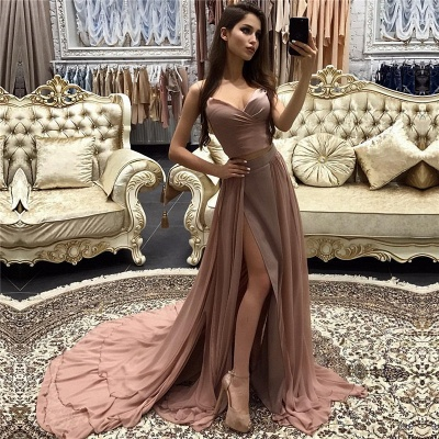 Sexy Long A-line layers Straps Side-Slit Prom Dresses_3