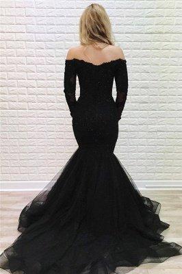 Elegant Off Shoulder Long sleeves Black Prom Dress | Black Sexy Mermaid Evening Dresses_2
