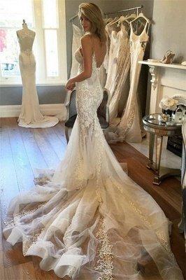 Tulle Charming Spaghetti-Strap Lace Button Zipper Mermaid Wedding Dress_4
