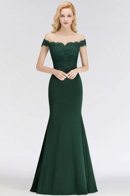 Green Elegant Lace Mermaid Off-The-Shoulder Bridesmaid Dresses_9