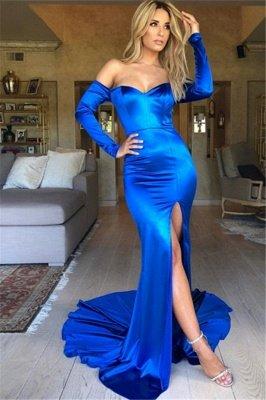 Royal Blue Off-The-Shoulder Long Sleeves Side-Slit Prom Dresses_1