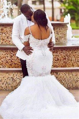 Glamorous Cap-Sleeve Appliques Plus-Size Lace Mermaid Wedding Dress_3