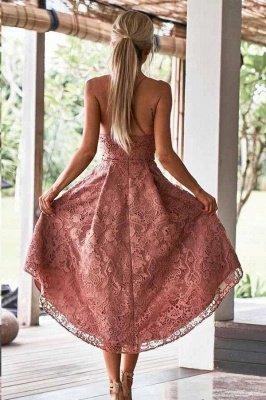 Hi-Lo Lace Spaghetti-Straps V-Neck Homecoming Dress_2