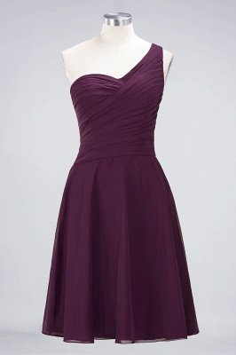 A-Line One-Shoulder Sweetheart Sleeveless Knee-Length  Bridesmaid Dress with Ruffles_19
