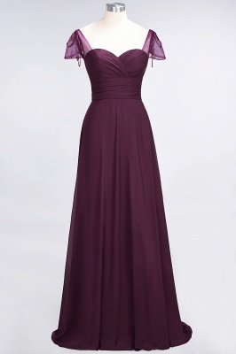 A-Line Sweetheart Cap-Sleeves Ruffle Floor-Length  Bridesmaid Dress with Beadings_1