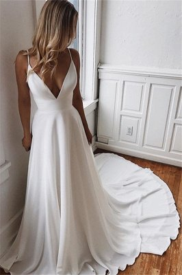 Elegant Simple Spaghetti-Straps V-Neck Backless Wedding Dresses