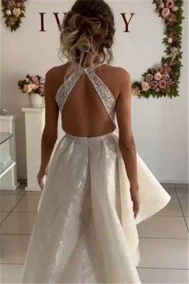 Stylish Sleeveless Hi-Lo Wedding Dresses with Appliques_2