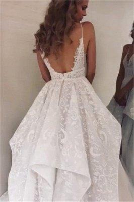 Gorgeous Spaghetti-Straps Ruffle Appliques A-Line Wedding Dresses_2