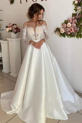 Glamorous Appliques Long-Sleeves A-Line Wedding Dresses_1