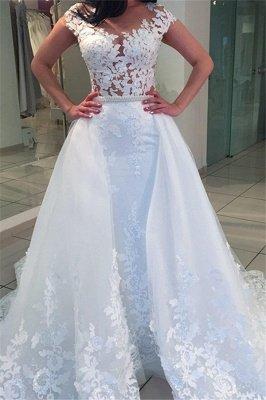 White A-Line Lace Cap-sleeve Romantic Wedding Dresses_2