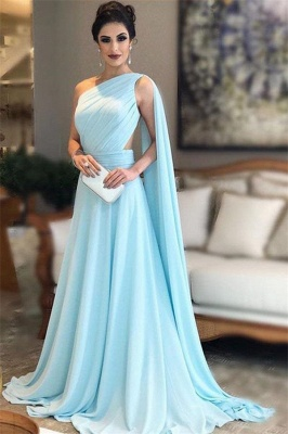 Aline One-Shoulder Sleeveless Evening Dresses with Watteau Train