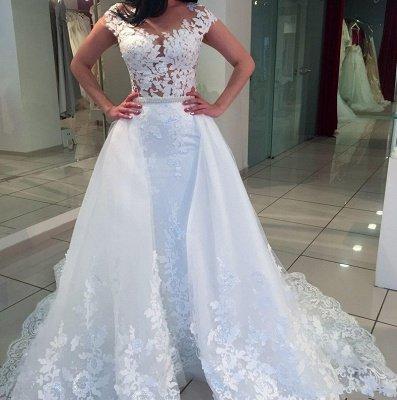 White A-Line Lace Cap-sleeve Romantic Wedding Dresses_3