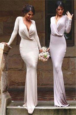 Elegant V-neck Long-Sleeve Bodycon Floor-length Bridesmaid Dress_2