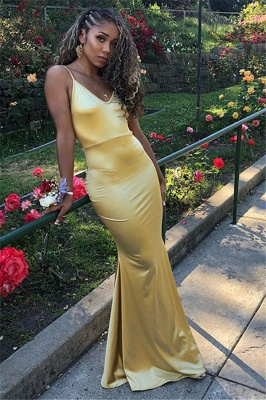 Sleek Yellow Spaghetti-Straps Mermaid Prom Dresses | Sexy Evening Dresses_1