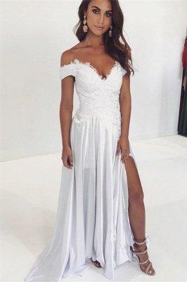 A-line Off-The-Shoulder Applique Prom Dresses
