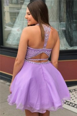 Cute Purple Crystal Halter Two Piece Homecoming Dresses_2