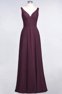 A-Line V-Neck Straps Sleeveless Ruffles Floor-Length  Bridesmaid Dress with Open Back_1