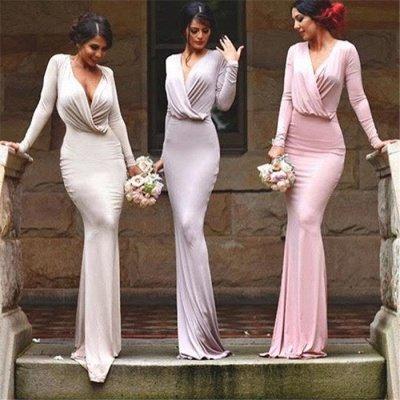 Elegant V-neck Long-Sleeve Bodycon Floor-length Bridesmaid Dress_3