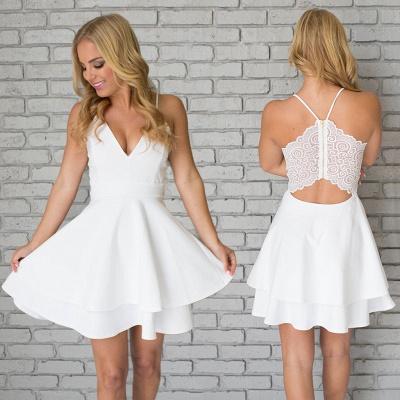 White Homecoming Dresses Spaghettis Straps Layers Skirt A-line Short Prom Dresses_3