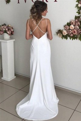 Chic Sexy Backless Spaghetti-Straps Wedding Dresses with a Split_2