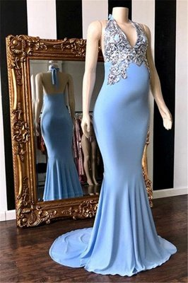 Blue Halter Sleeveless Pregnant Mermaid Prom Dresses with Appliques